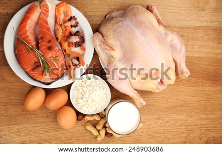 Food high in protein on table - stock photo