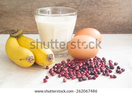Food high in protein on table, close-up shot - stock photo