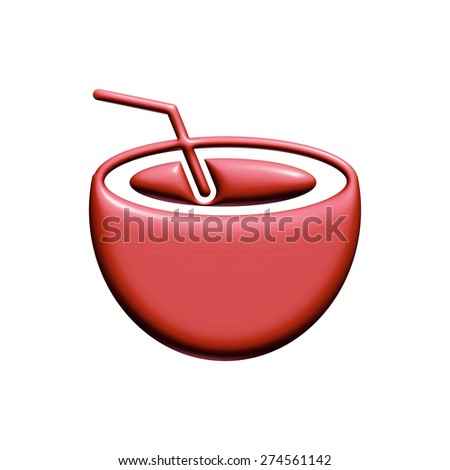 Food icon in red on isolated white background.