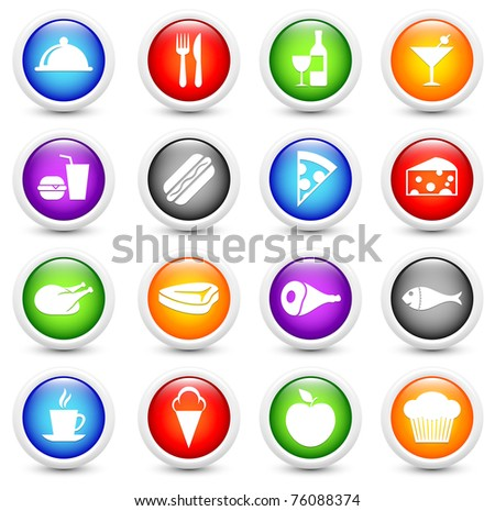 Food Icon on Reflective Button Collection Original Illustration - stock photo