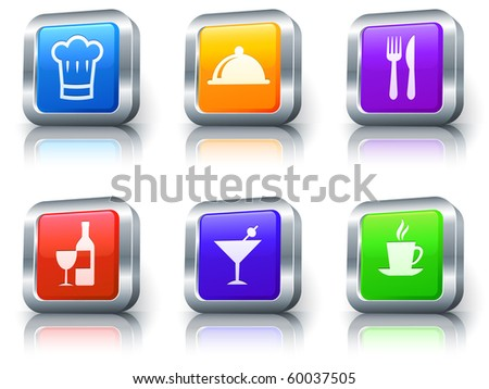 Food Icons on Square Button with Metallic Rim Collection Original Illustration - stock photo