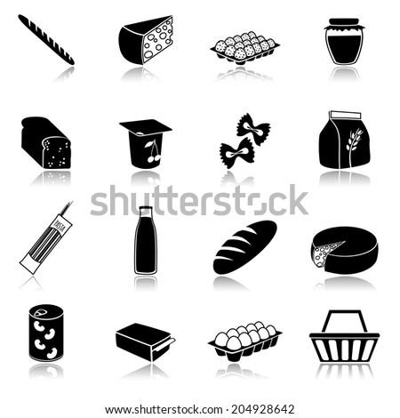 Food icons set of bread milk bottle egg box flour pack isolated  illustration - stock photo