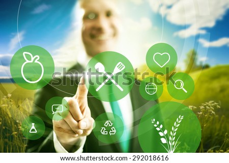 Food industry and clean eating business concept illustration - stock photo