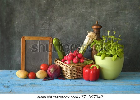 food ingredients and blackboard for cooking recipes,free copy space - stock photo