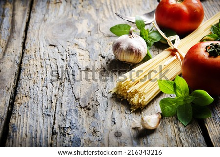 Food ingredients for italian pasta - stock photo