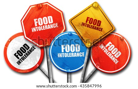 food intolerance, 3D rendering, rough street sign collection - stock photo