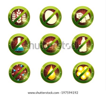 Food intolerance signs. Signs for food not contain specific product Health care diets such as no gluten, no sugar, no nuts, no GMO, no nitrates, no trans fats, no cholesterol, no eggs, no lactose - stock photo