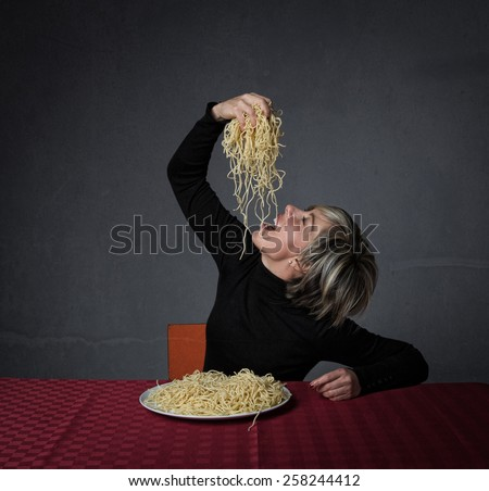 food lover and spaghetti - stock photo