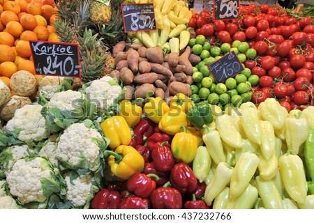 Food market in Budapest, Hungary (Great Market Hall). Fresh produce marketplace.