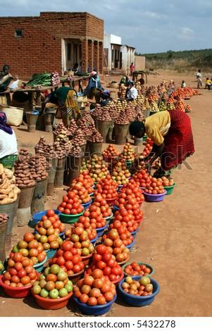 Food market in Malawi - stock photo