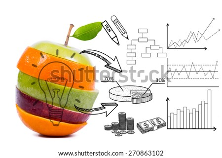 Food market mix and share with your graph    - stock photo