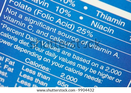 Food Nutrition Label - stock photo