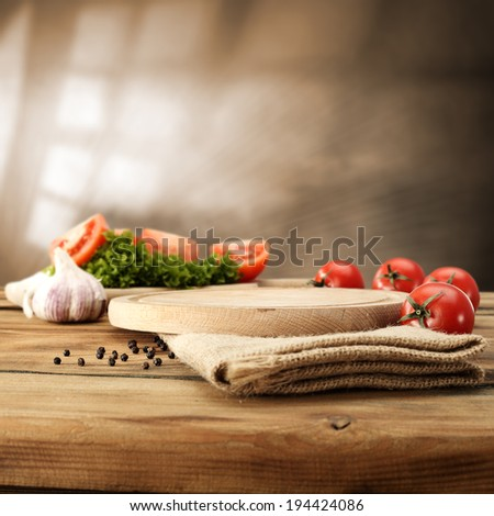 food of summer and desk  - stock photo