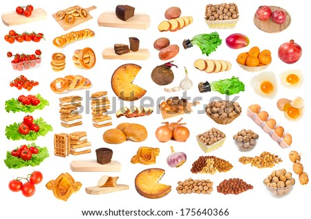 food on a white background
