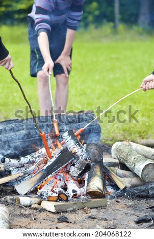 Food on fire - stock photo