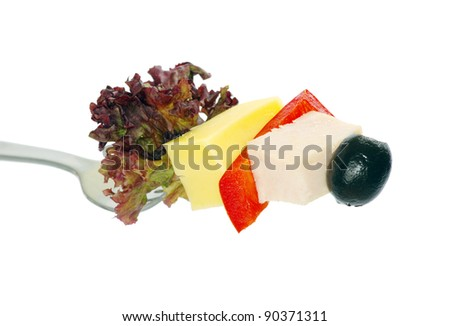 food on fork isolated on white background - stock photo