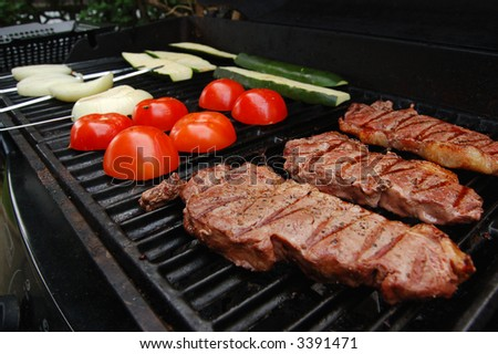 Food on the BBQ - stock photo