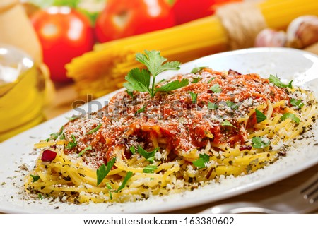 Food, Pasta and ingredients, close-up  - stock photo