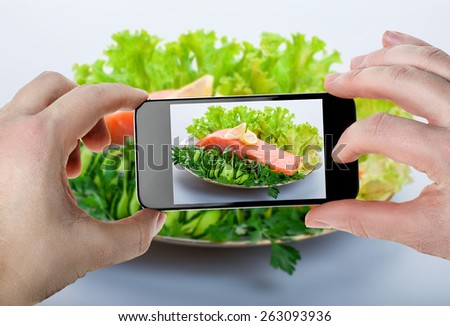Food photography on smartphone - stock photo