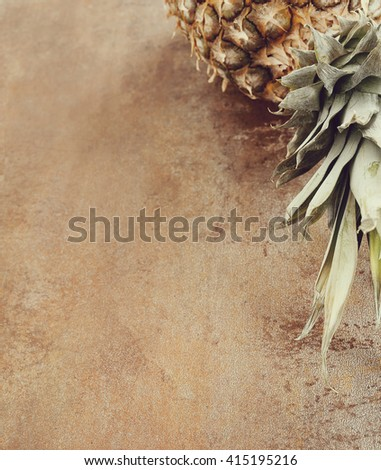 Food. Pineapple on the table - stock photo