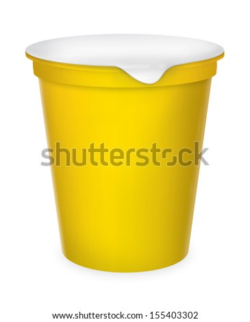 Food plastic container , dessert, yogurt, ice-cream, sour cream with cover. Packing for the isolation of the product on a white background with reflections and soldering yellow color  - stock photo
