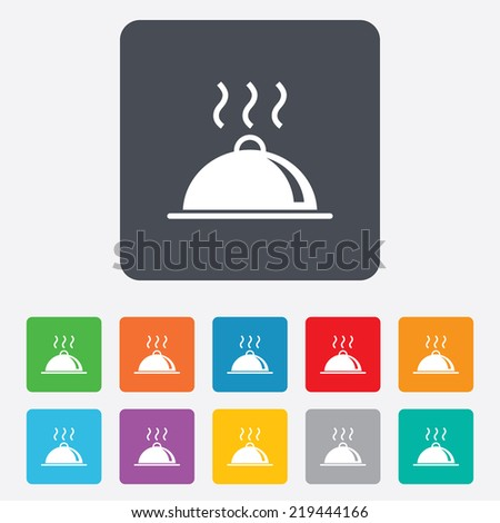 Food platter serving sign icon. Table setting in restaurant symbol. Hot warm meal. Rounded squares 11 buttons. - stock photo