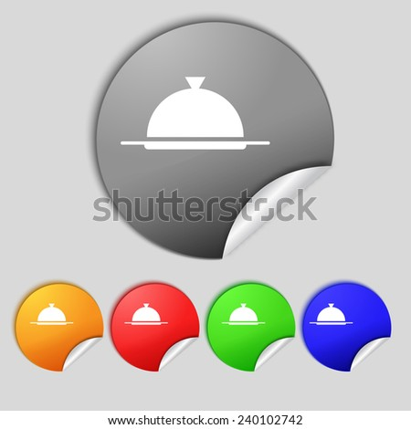 Food platter serving sign icon. Table setting in restaurant symbol. Set colourful buttons.  illustration - stock photo