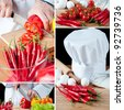 Food preparation, collage - stock photo