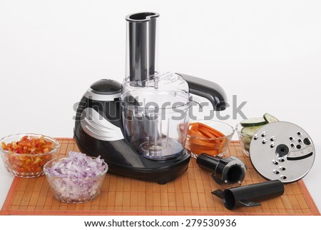 food processor with accessories on white background - stock photo