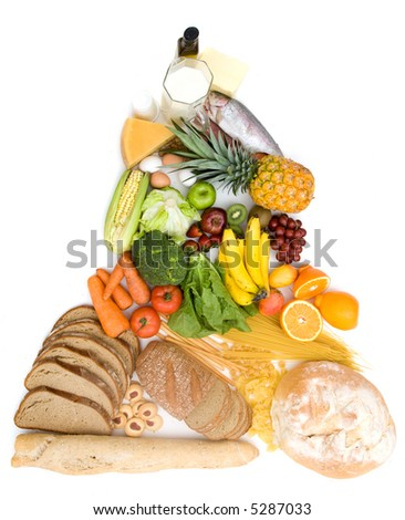 food pyramid isolated over a white background - stock photo