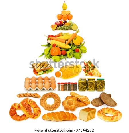Food pyramid with lots of items - stock photo