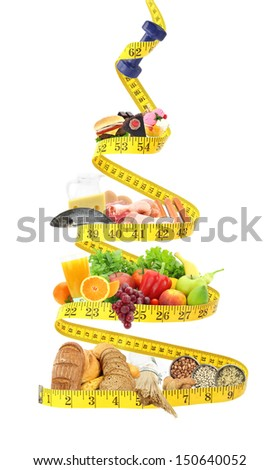 Food pyramid with measure tape - stock photo