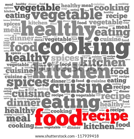 Food recipe info-text graphics and arrangement concept on white background (word cloud)