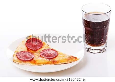 Food, restaurant. Delicious pizza with glass of coke - stock photo