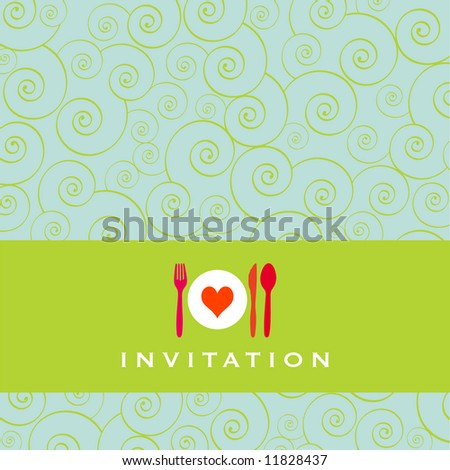 Food - restaurant - menu design with cutlery silhouette and background with curls - stock photo