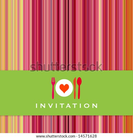 Food - restaurant - menu design with cutlery silhouette and background with vertical stripes - stock photo