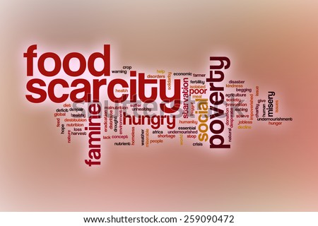 Food scarcity word cloud concept with abstract background - stock photo