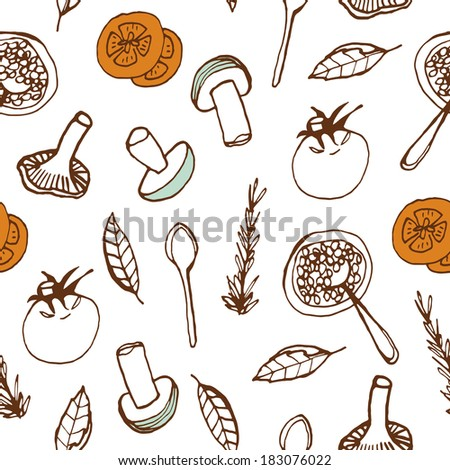 Food seamless background. Hand drawn doodle pattern for kitchen and cafe stuff
