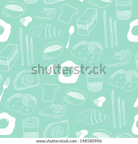 Food seamless pattern. Hand drawn food motive for backgrounds, fabric, kitchen and cafe stuff - stock photo