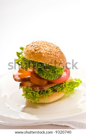 food serias: bread and butter with meat and lettuce