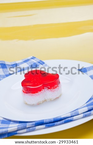 food serie: sweet fancy cake with cranberry jelly