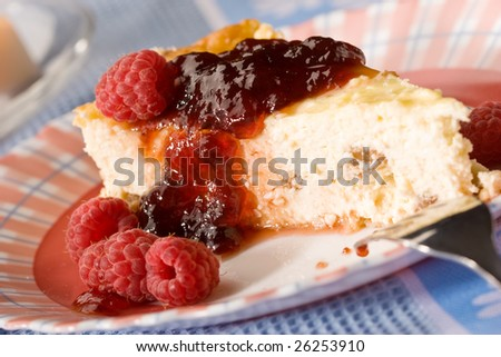 food series:  cheese-cake with red raspberry jam