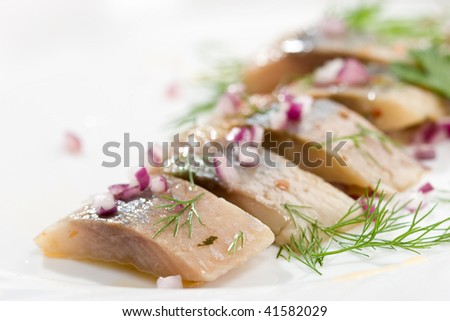 food series: macro picture of fillet herring with vegetables - stock photo