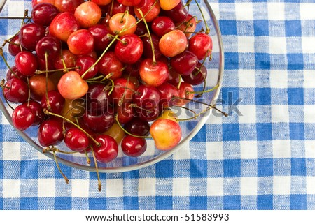 food series: red and yellow ripe cherries on plate