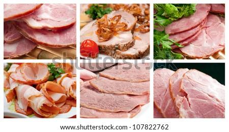 Food set Beautiful sliced food arrangement of meat. - stock photo