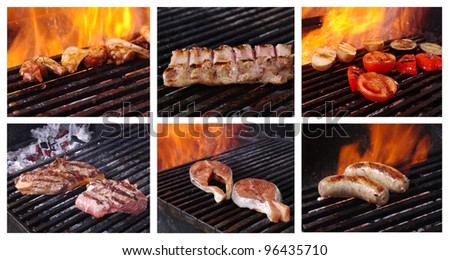 Food set cooking meat  barbecue. collage prepared on the barbecue grill - stock photo