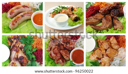 Food set of different   barbecue grill.. collage closeup - stock photo