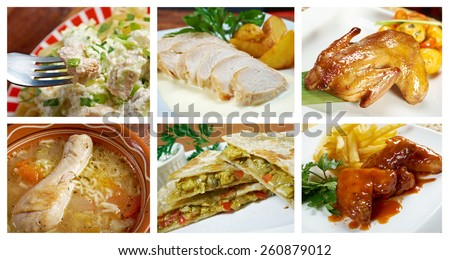 Food set of different  chicken meat . collage.