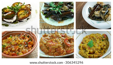 Food set of different  eggplant dish,. collage