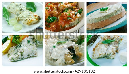 Food set of different fish cod . collage - stock photo